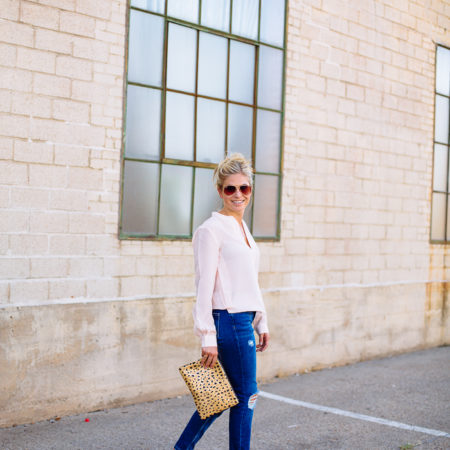 pink silk blouse banana republic-topshop skinny boyfriend jeans-leopard clutch-patent nude pumps-dallas fashion blogger