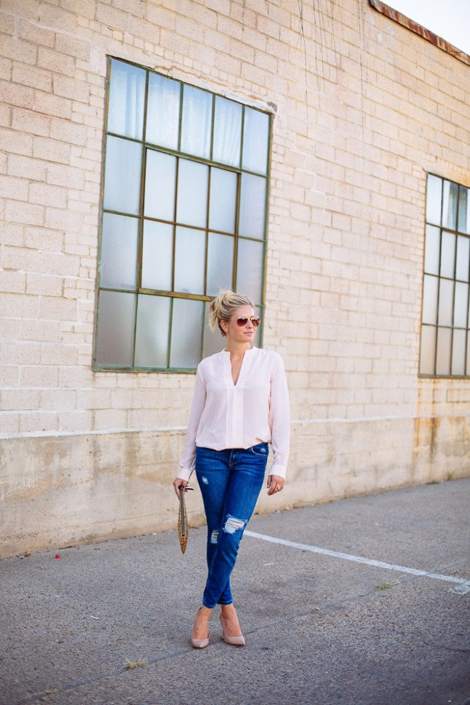 silk pink blouse-skinny destroyed boyfriend jeans-classic nude pumps-leopard clutch-fashion blogger dallas