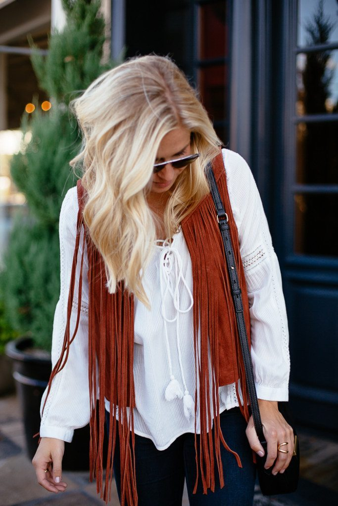 suede fringe vest topshop-white long sleeve blouse