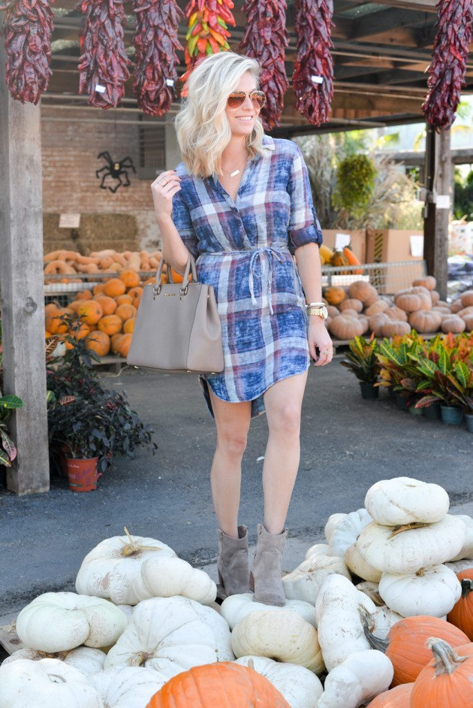 standing on pumpkins in plaid shirtdress