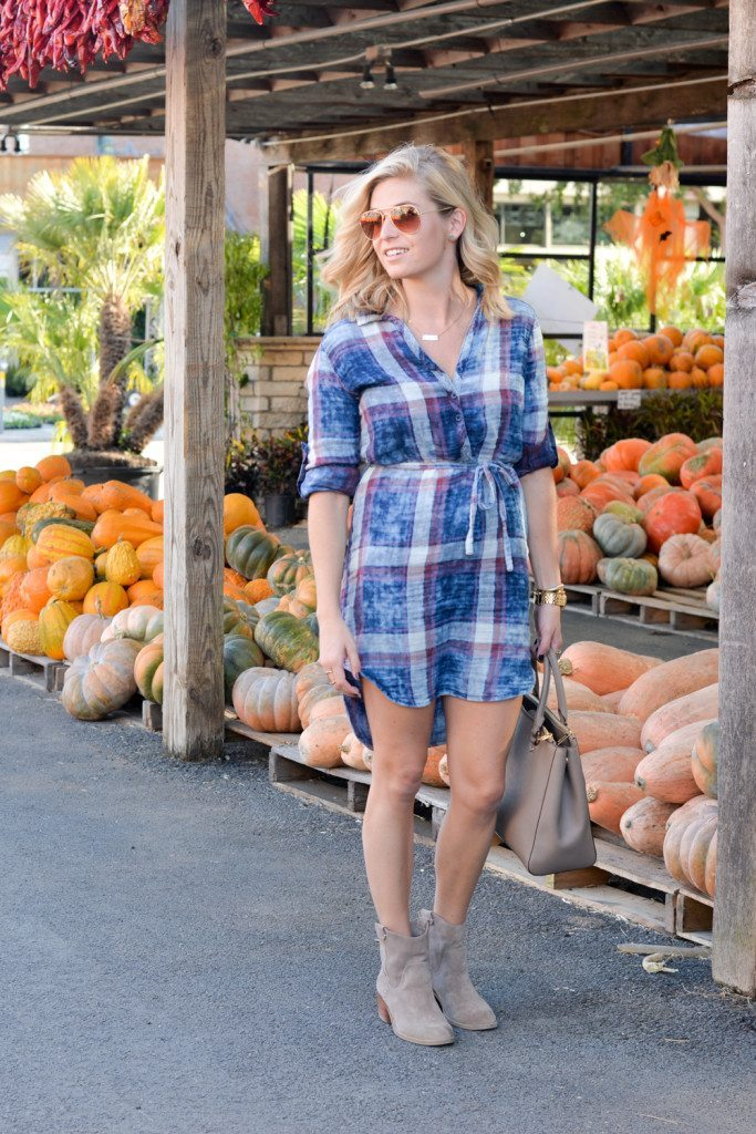 blue plaid shirtdress nordstrom-dallas fashion blogger