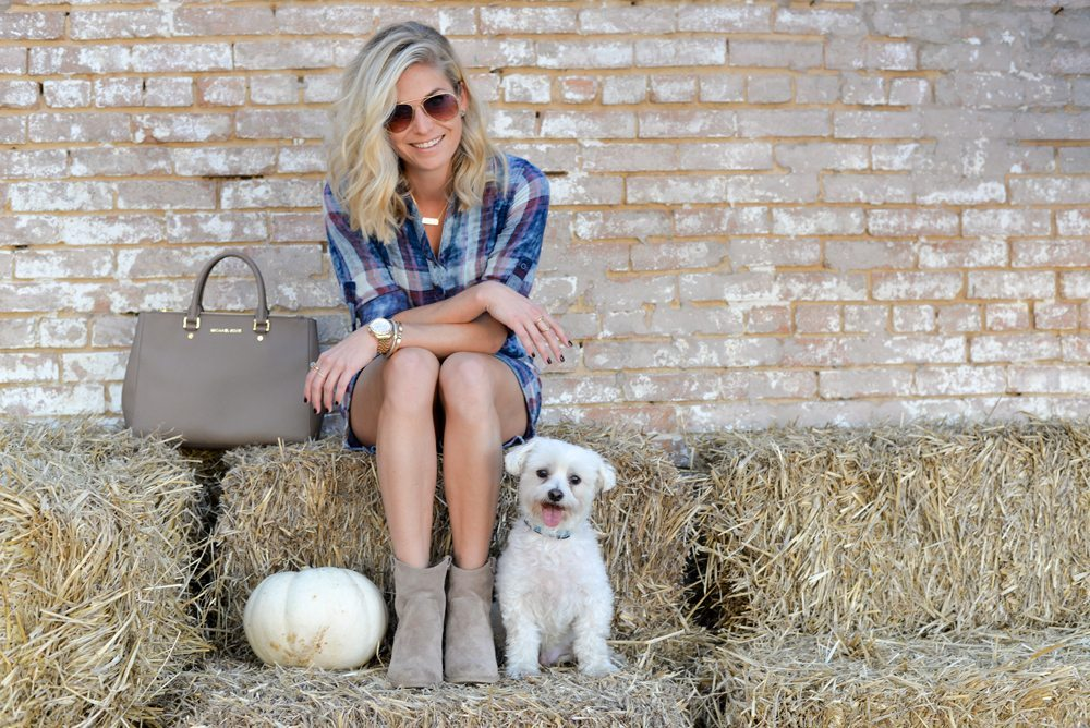 plaid shirtdress and tan suede booties-dallas pumpkin patch-dallas fashion bloggers