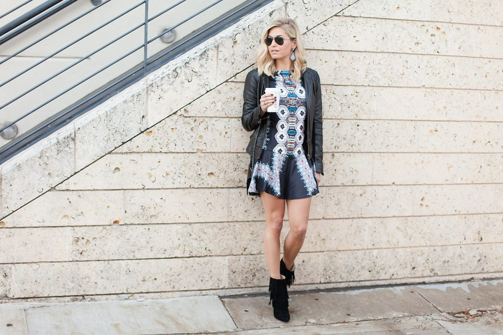 multicolor long sleeve dress-leather jacket-fringe ankle booties-dallas fashion blogger