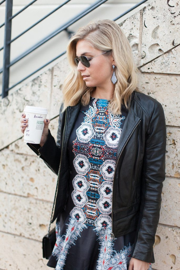 black printed dress and leather jacket-kendra scott drop earrings
