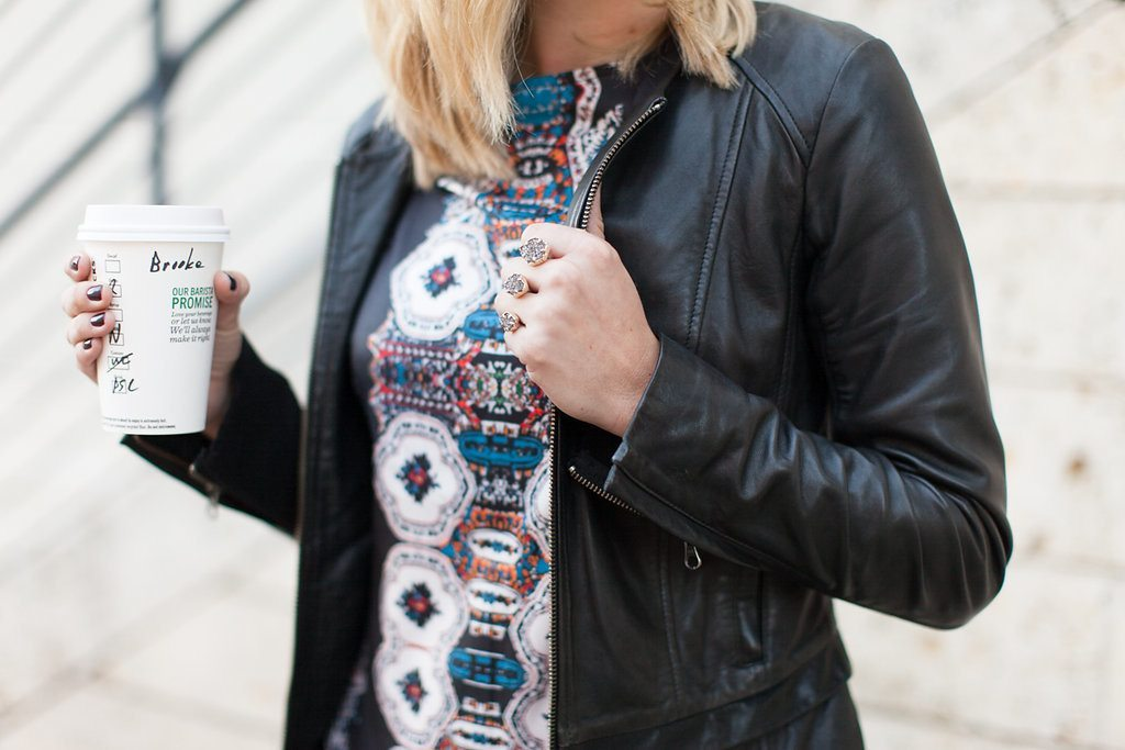 black leather jacket over printed dress-kendra scott ring