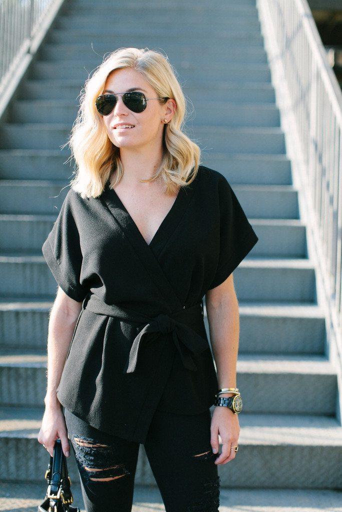 black wrap blouse-simple black top-black tie blouse