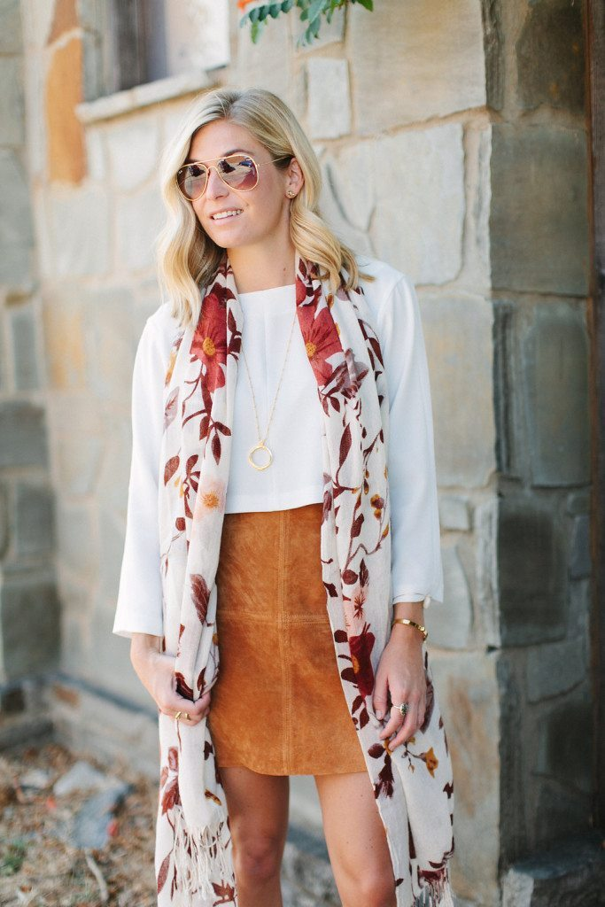 suede skirt outfit with fall scarf-dallas fashion bloggers