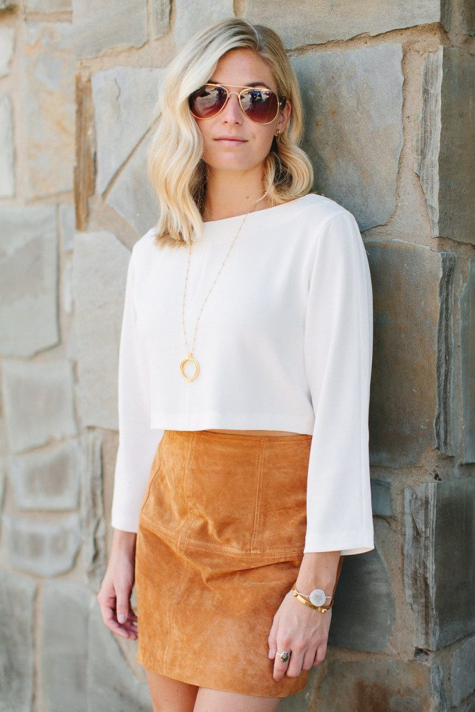 suede skirt and white shirt