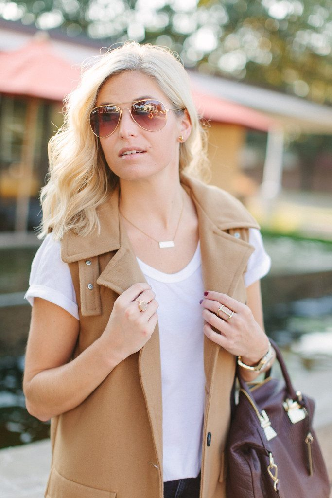 collared camel vest with white tee