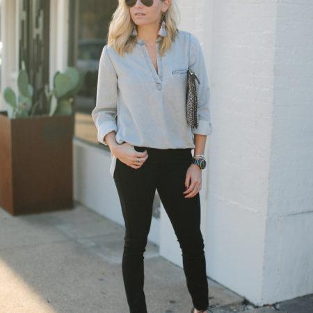 grey tunic shirt with black skinny jeans-dallas fashion bloggers