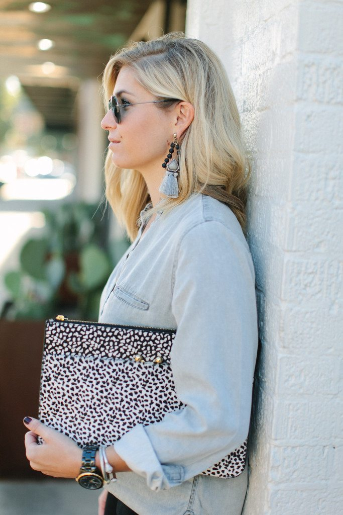 beaded boho statement earrings-black spot clutch