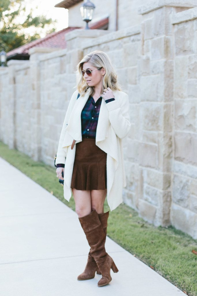 plaid silk shirt-polo ralph lauren sale-chunky knit sweater cardigan-suede flare skirt-over the knee boots
