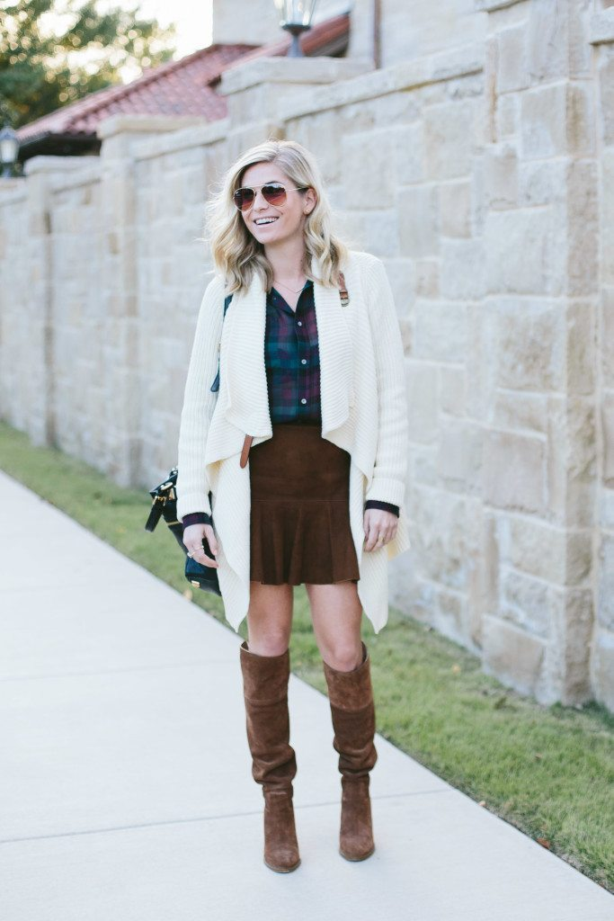 polo ralph lauren outfit-black friday sales-suede mini skirt with plaid shirt and sweater cardigan-fall outfit inspiration-thanksgiving outfit idea-dallas fashion blogger