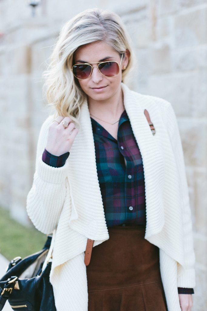 sheer plaid shirt-sweater wrap cardigan-polo ralph lauren