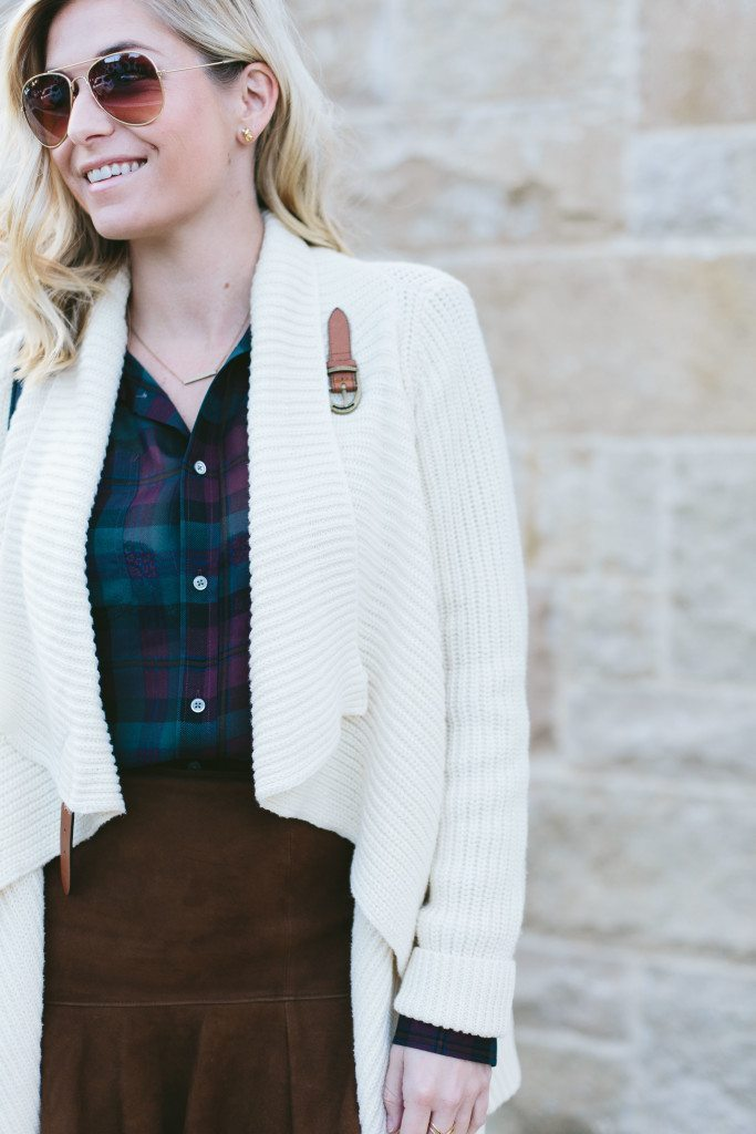 white sweater cardigan with leather buckle-sweater wrap cardigan-polo plaid shirt