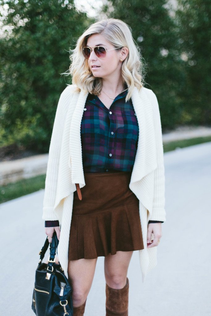 plaid silk blouse-chunky sweater cardigan-suede mini skirt outfit idea-polo ralph lauren outfit