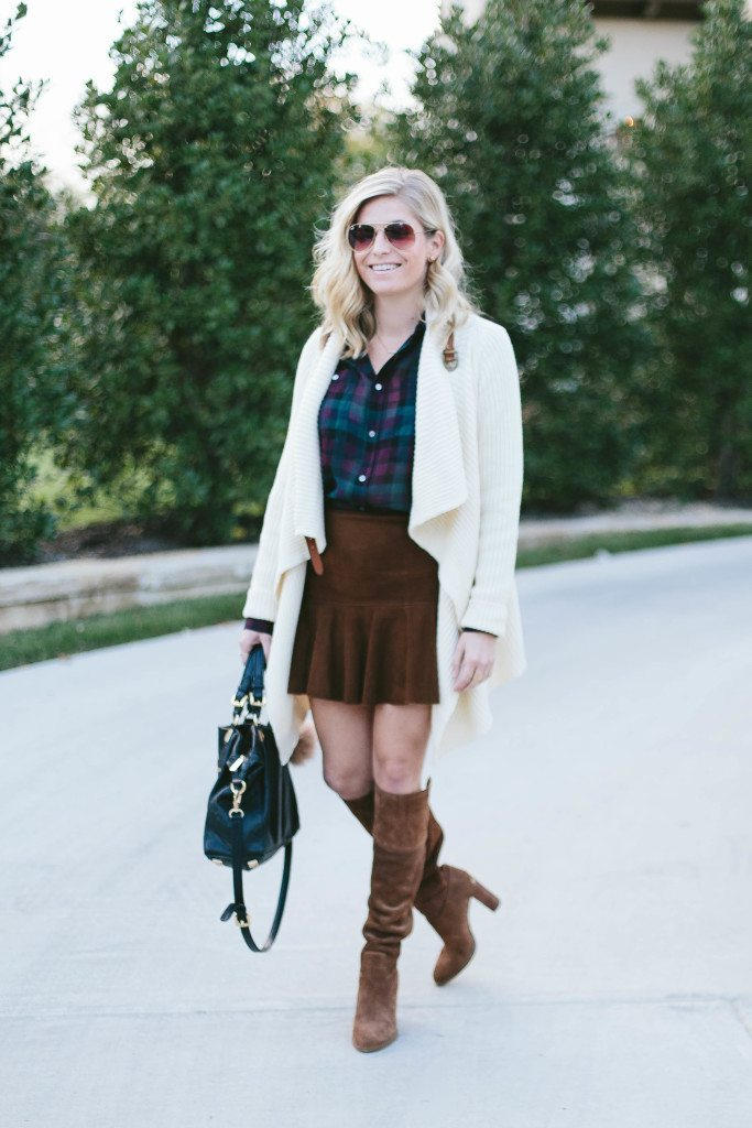 sheer plaid shirt-off white sweater cardigan-suede flare miniskirt-suede over the knee boots-dallas fashion bloggers-suede skirt outfit idea-fall outfit idea-thanksgiving outfit inspiration