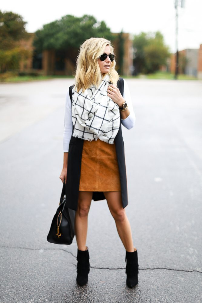 black sleeveless long tuxedo jacket-suede mini skirt-windowpane scarf-black fringe ankle booties-dallas fashion bloggers