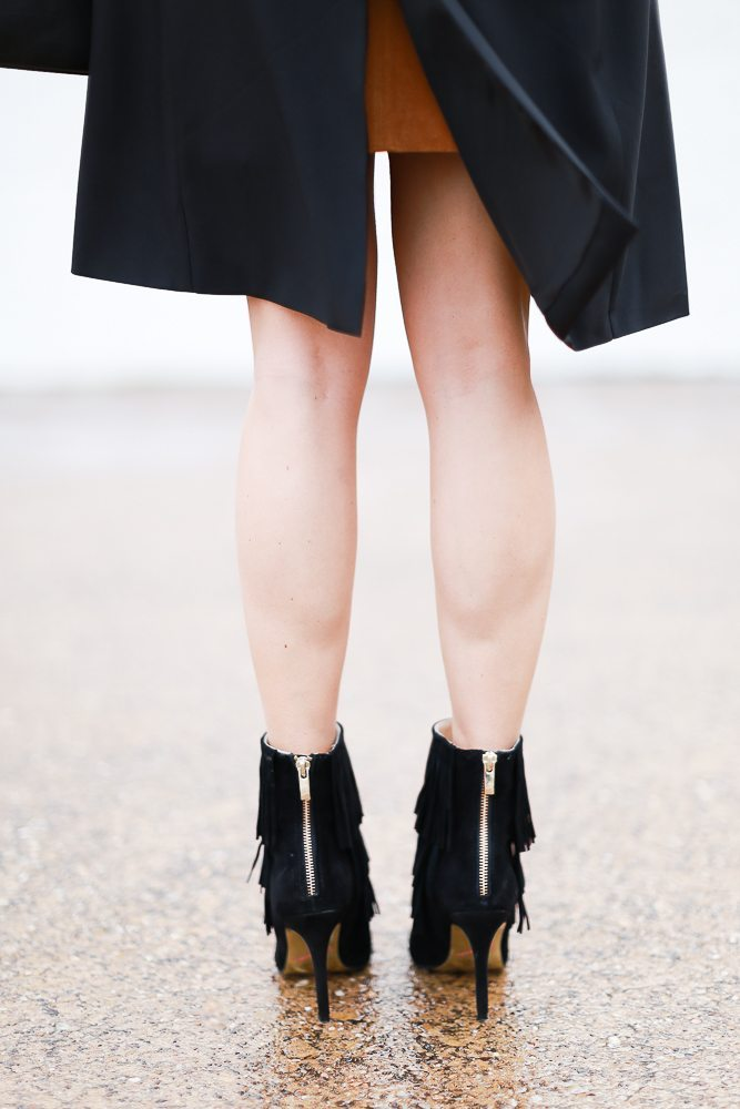 black fringe ankle booties