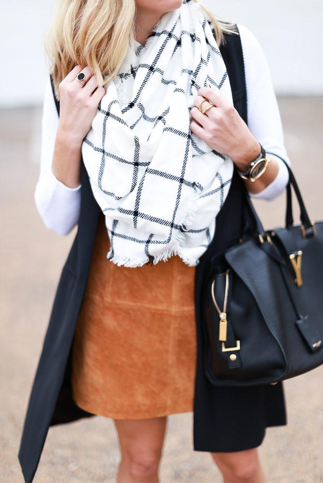 black and white windowpane scarf-suede mini skirt-black long vest