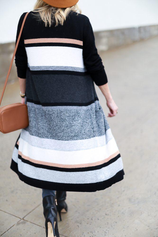 black white and grey stripe cardigan