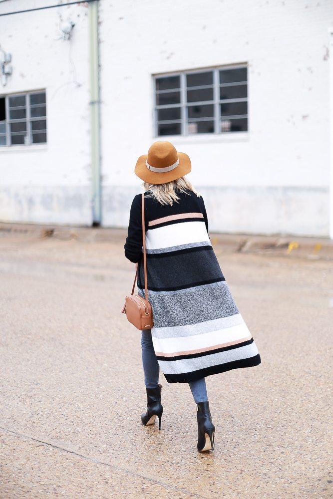long open front stripe cardigan-gigi new york crossbody-floppy hat-dallas fashion blogger