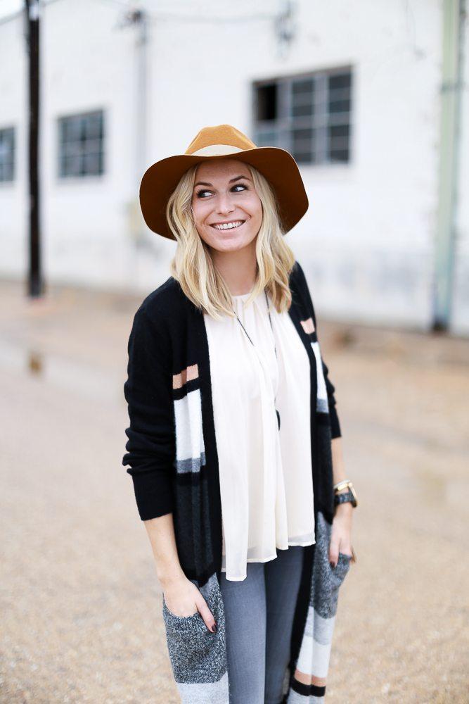 off white silk tank with long cardigan-kendra scott long tassel necklace-fashion blogger dallas
