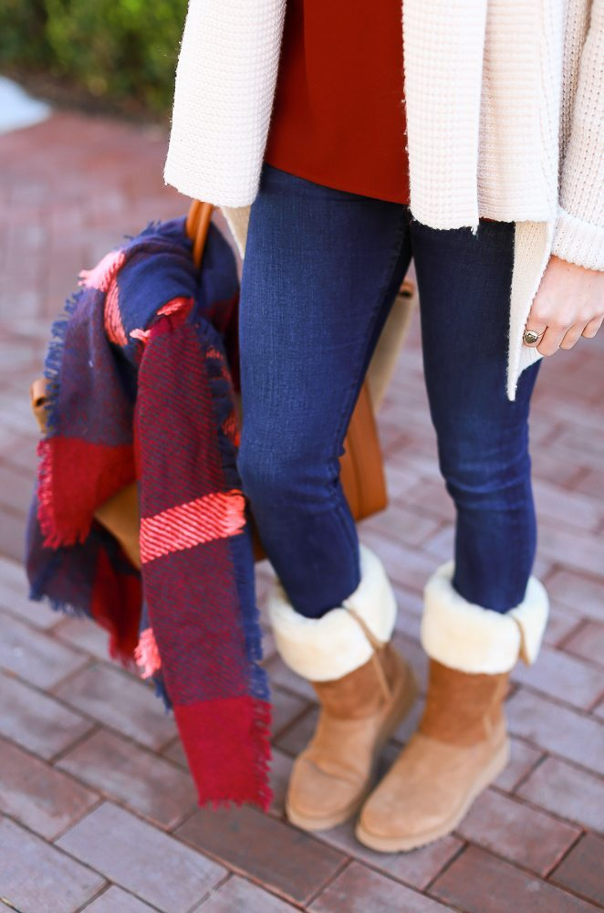 plaid scarf and ugg boots