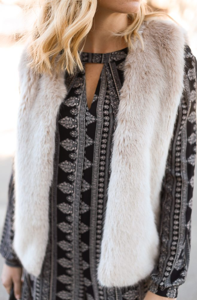 faux fur vest with printed romper