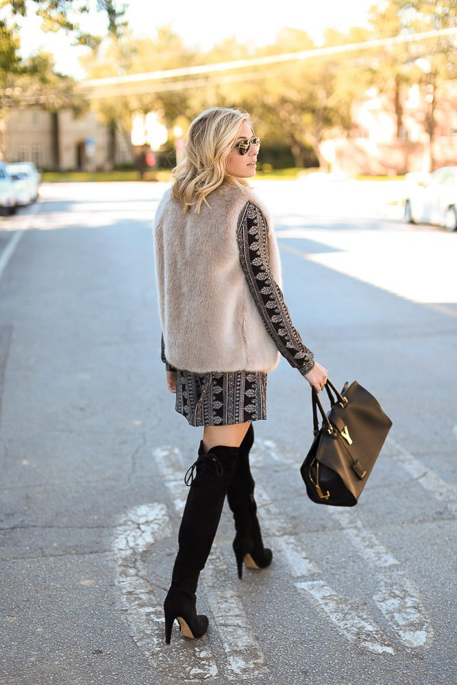 astr keyhole romper-black suede over the knee boots-tan faux fur vest-winter outfit inspiration-dallas fashion blogger