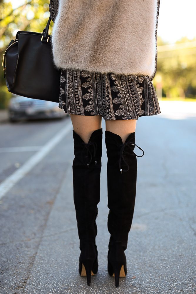 lace up over the knee boots-patterned romper