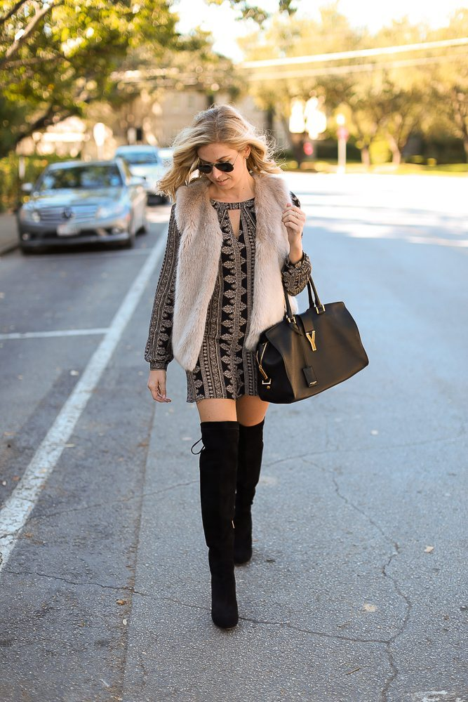 printed romper with keyhold cutout-faux fur vest topshop-over the knee boots black-otk boot outfit-large black satchel-dallas fashion bloggers-holiday outfit
