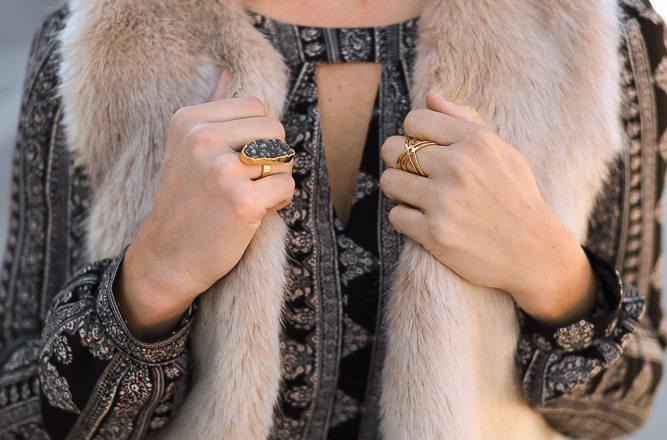 druzy cocktail ring-faux fur vest-keyhole printed romper