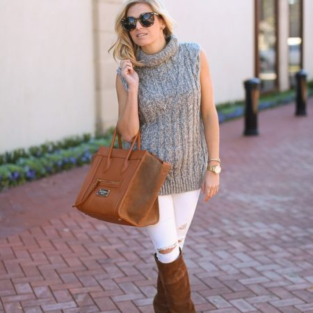 grey sleeveless sweater-white skinny jeans-valentino tan suede bag-tan sued over the knee boots-dallas fashion blogger