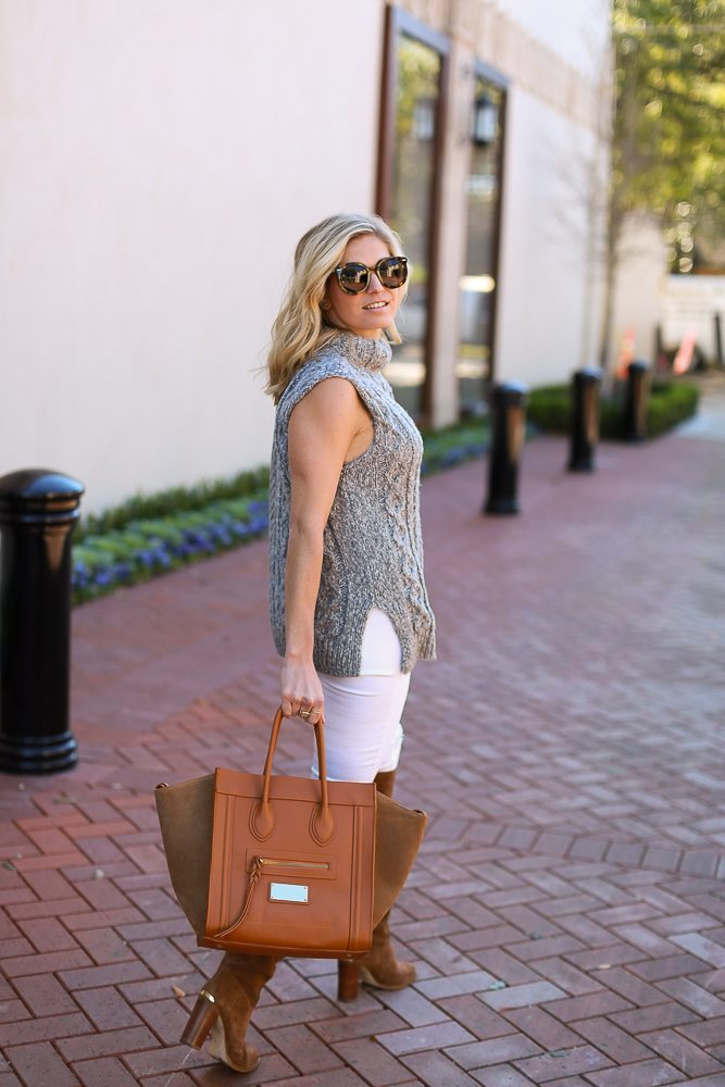 sleeveless cable knit sweater with tan boots and bag-fall outfit idea-dallas fashion bloggers