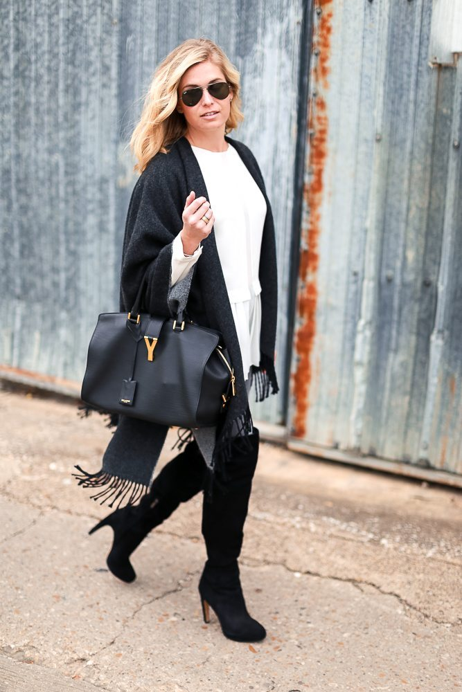 reversible fringe cape-winter outfit idea-over the knee boots-YSL bag-dallas fashion blogger