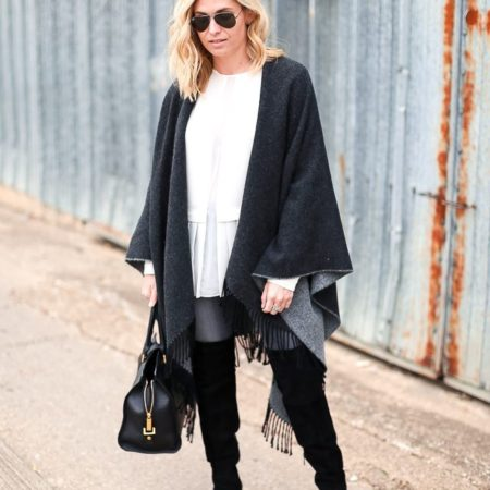 reversible cape with fringe-suede over the knee boots-cape outfit ideas-dallas fashion bloggers-white ruffle shirt