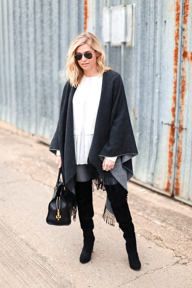 reversible cape with fringe-suede over the knee boots-cape outfit ideas -dallas  sc 1 st  One Small Blonde & Reversible Fringe Cape | How to Style a Cape