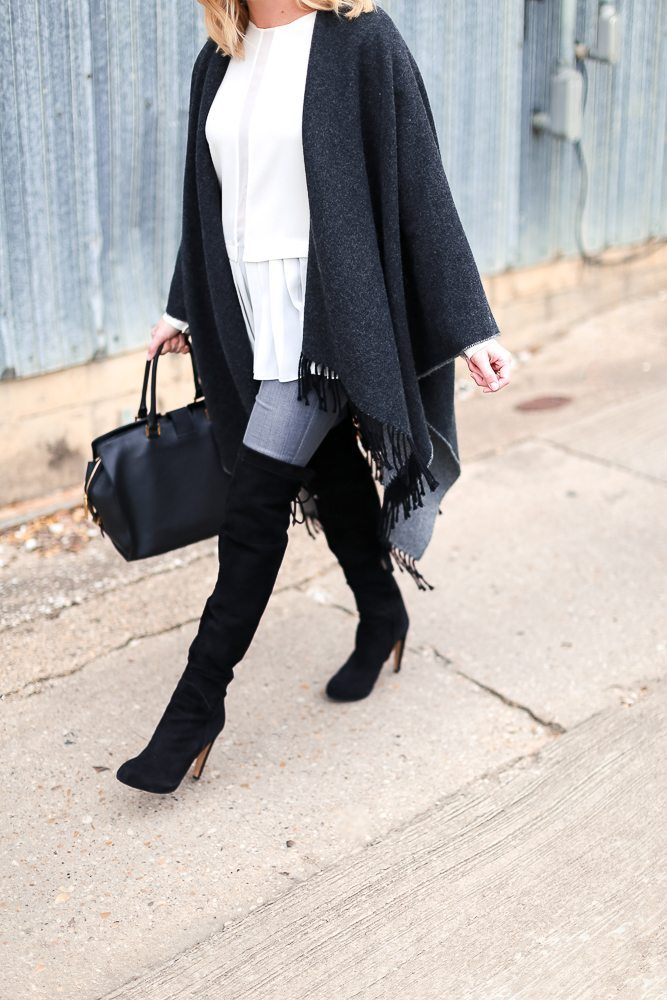 winter cape outfit-white pleated blouse-over the knee tie boots-reversible fringe cape grey
