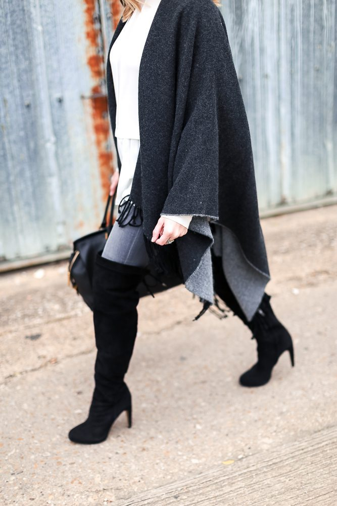 black over the knee boots with grey reversible fringe cape
