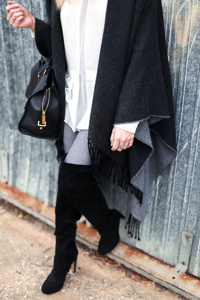 swingy fringe cape nordstrom-black over the knee boots-winter outfits-how to style a cape