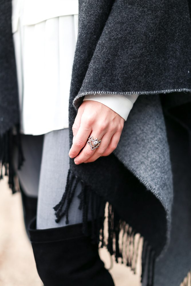 grey reversible cape-pave triangle stackable rings-white pleated shirt