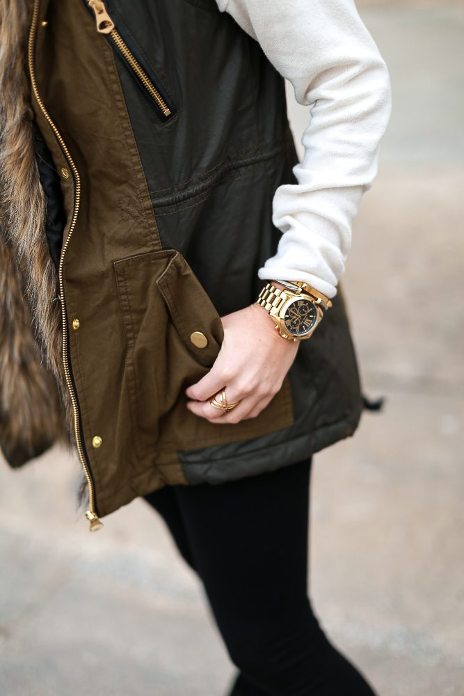 army green and black vest-michael kors oversized gold watch