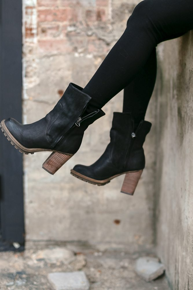 black leather booties with side zippers