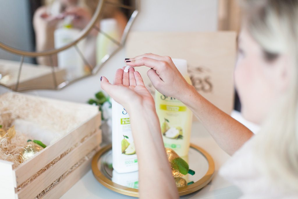 st ives pear lotion and body wash to live radiantly