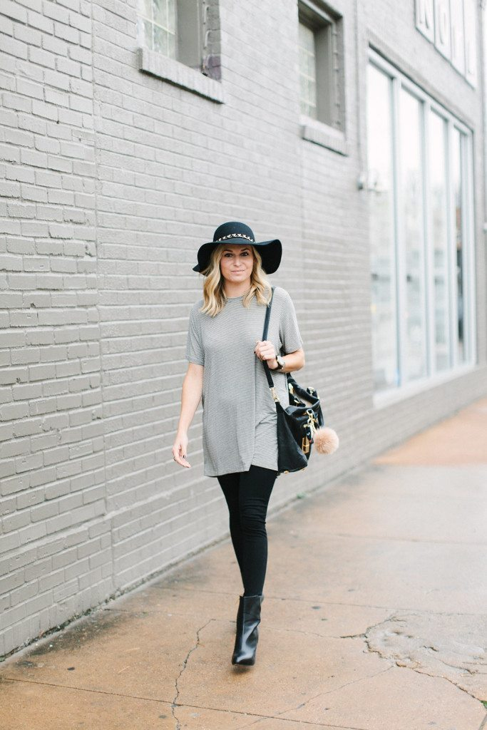 brandy melville jenelle dress-black ankle booties-black floppy hat