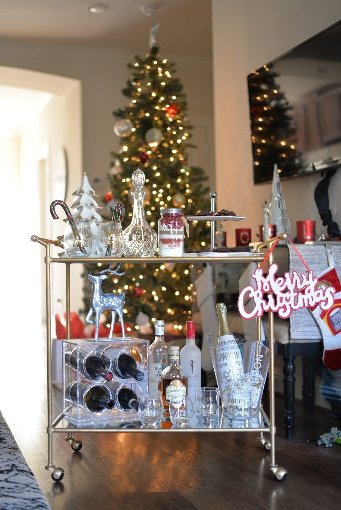 gold bar cart holiday decor