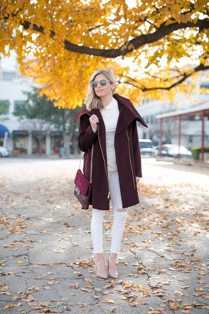 cole haan burgundy coat-pantone color of the year outfit-winter white outfit-dallas fashion blogger