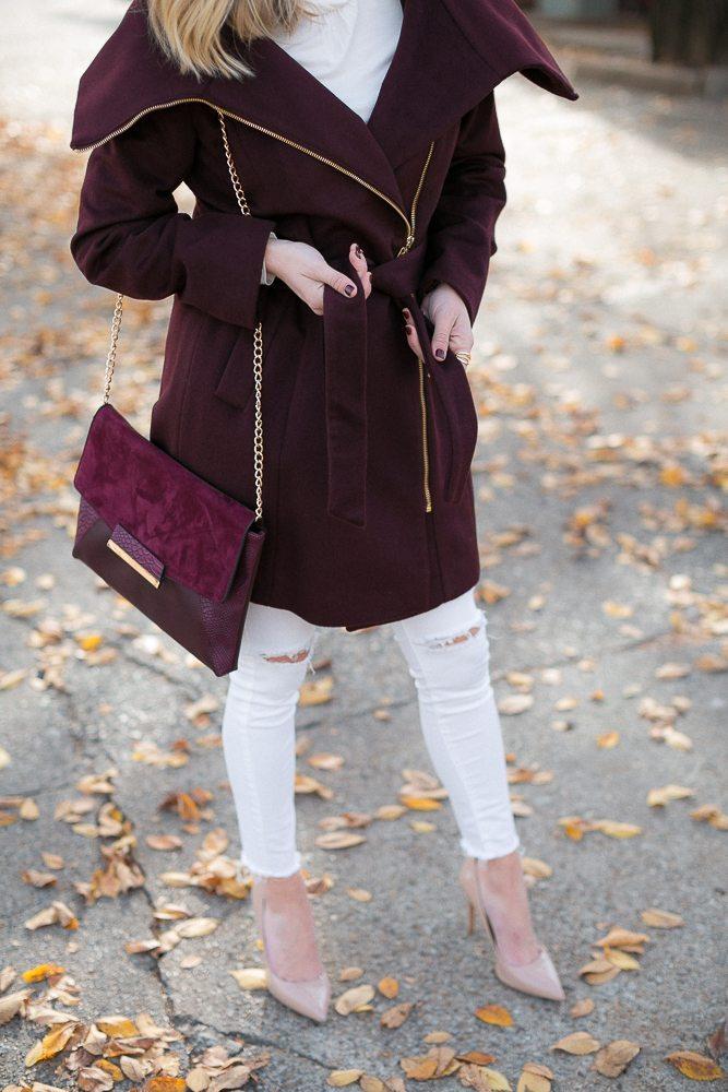 burgundy wrap coat with gold zipper-burgundy crossbody purse-cole haan coat