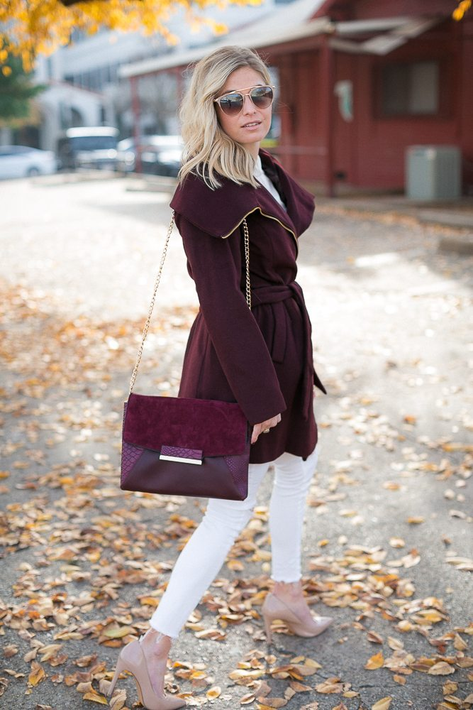 fall outfit inspiration-burgundy winter coat-burgundy gold chain purse-fashion blogger dallas